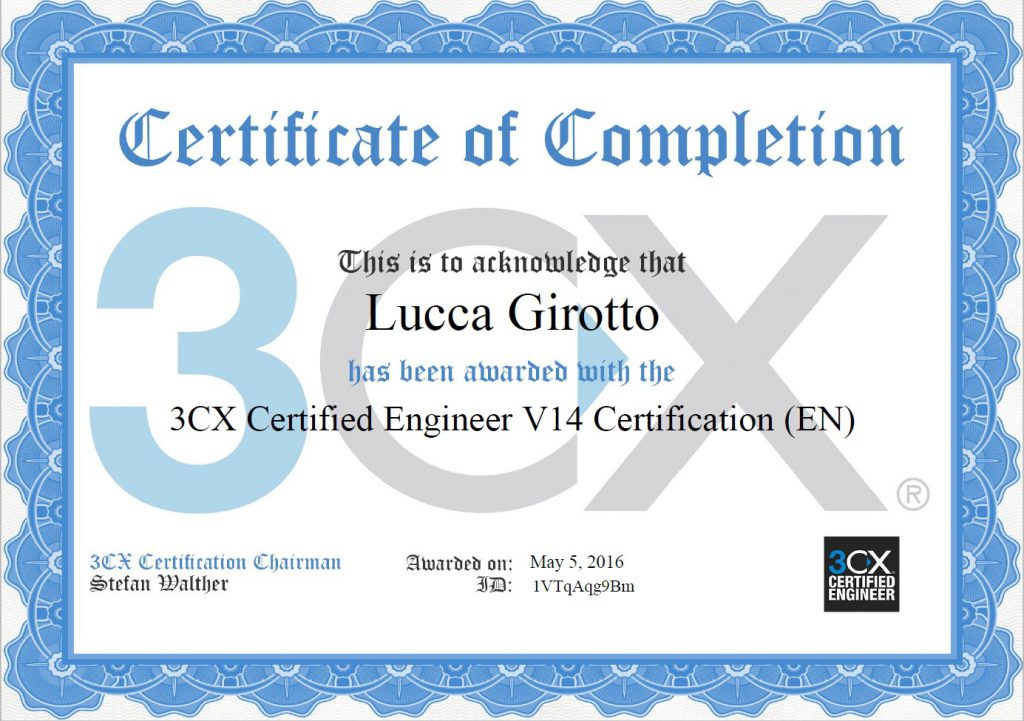 Certificazione 3cx certified engineer