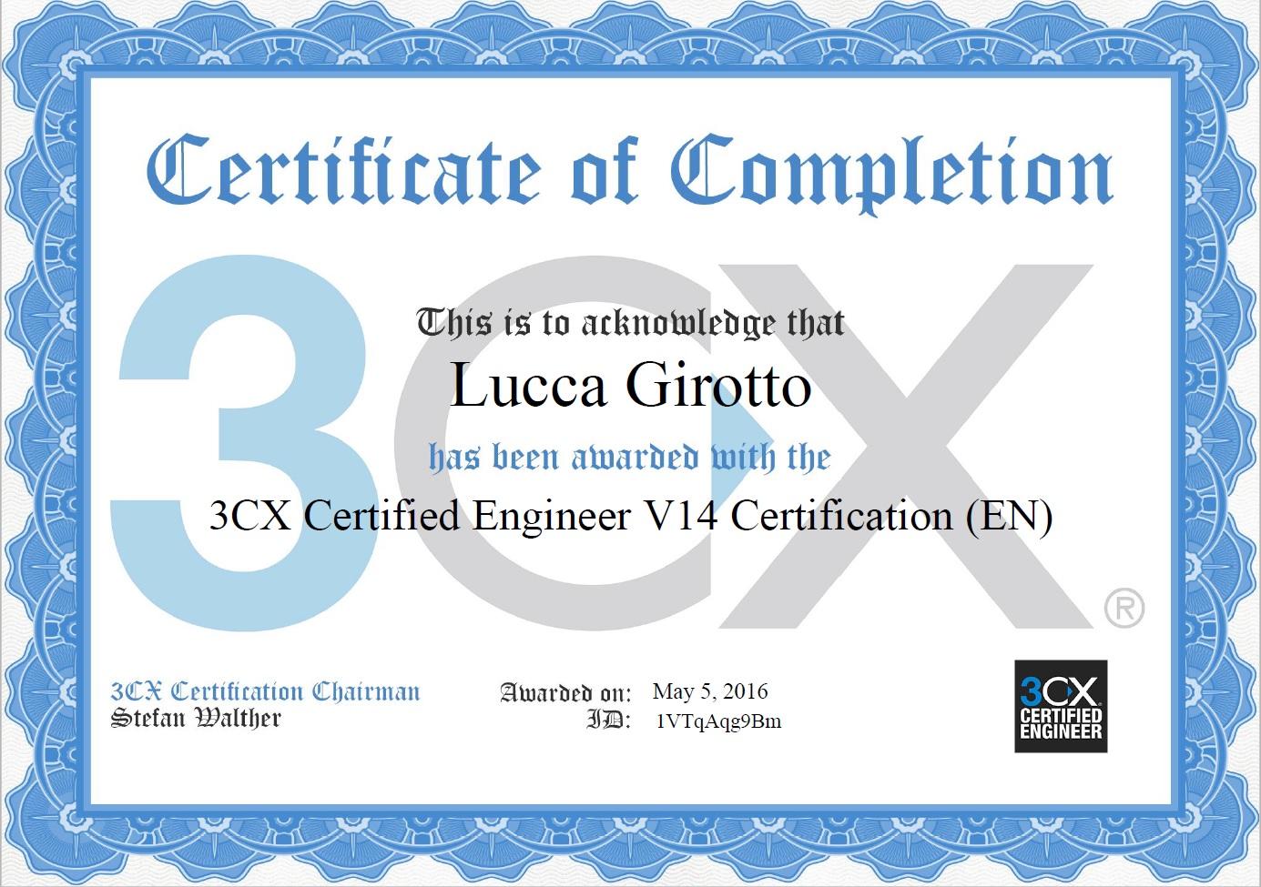 Certificazione 3cx engineer