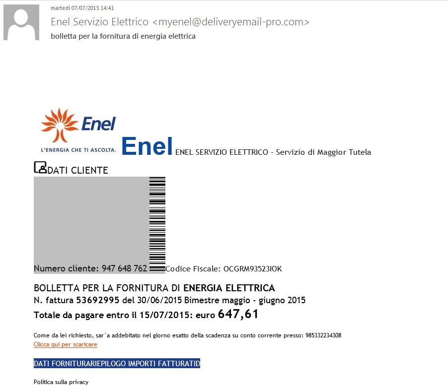 La bolletta nasconde un virus mail truffa da finto - Enel richiesta interramento linea ...