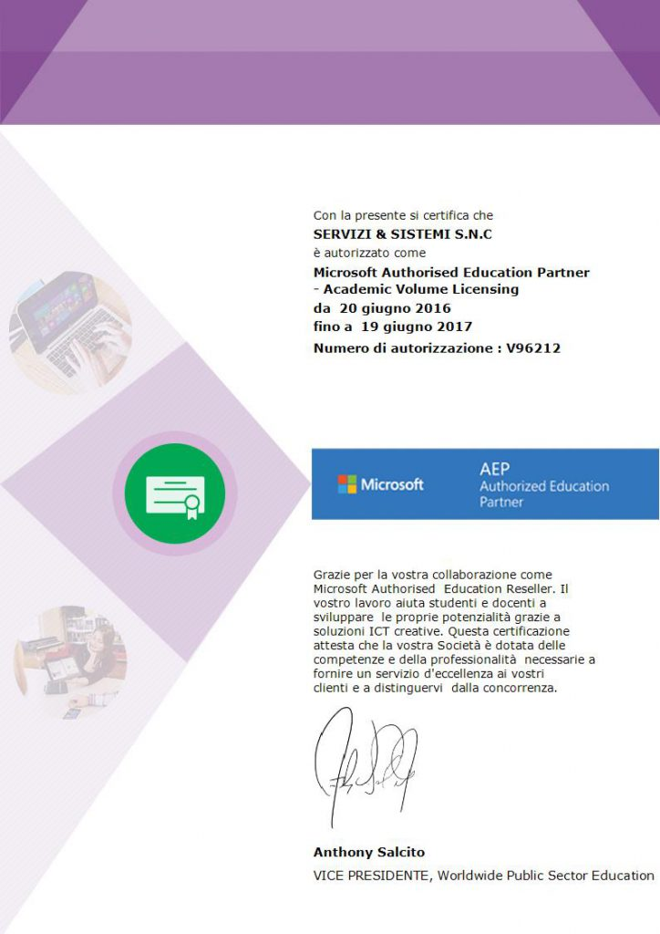 SERVIZI & SISTEMI è Microsoft Authorized Educational Partner