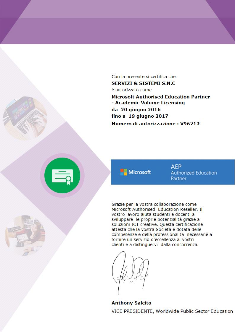 Certificazione Microsoft Authorized Education Partner (AEP)