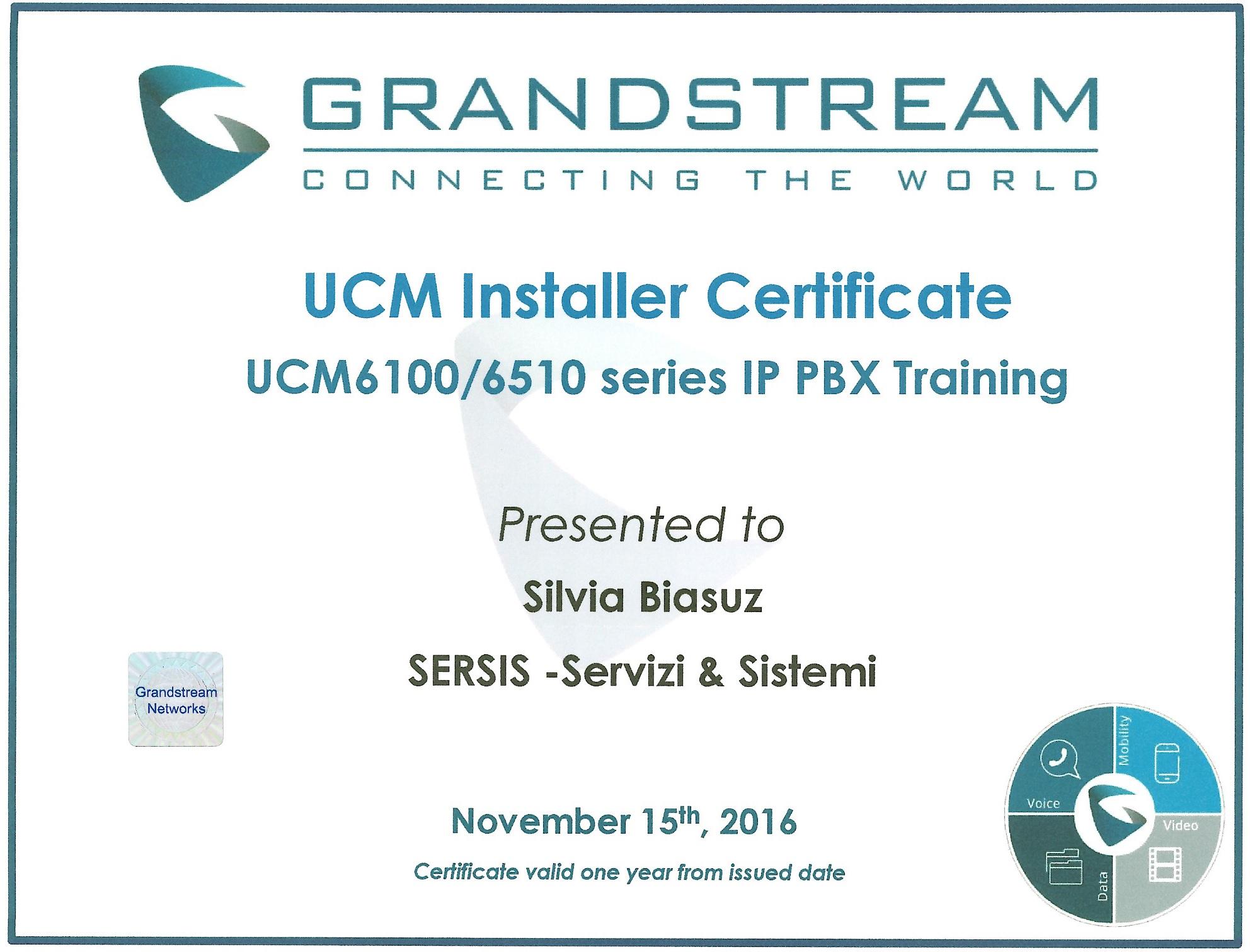 certificato centralini grandstream
