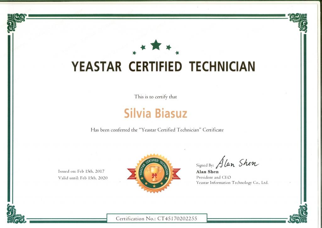 certificato tecnico yeastar