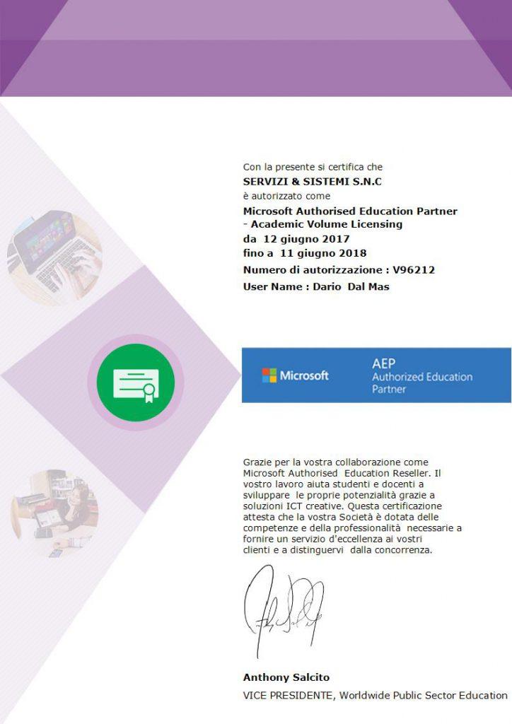 Certificato Microsoft AEP