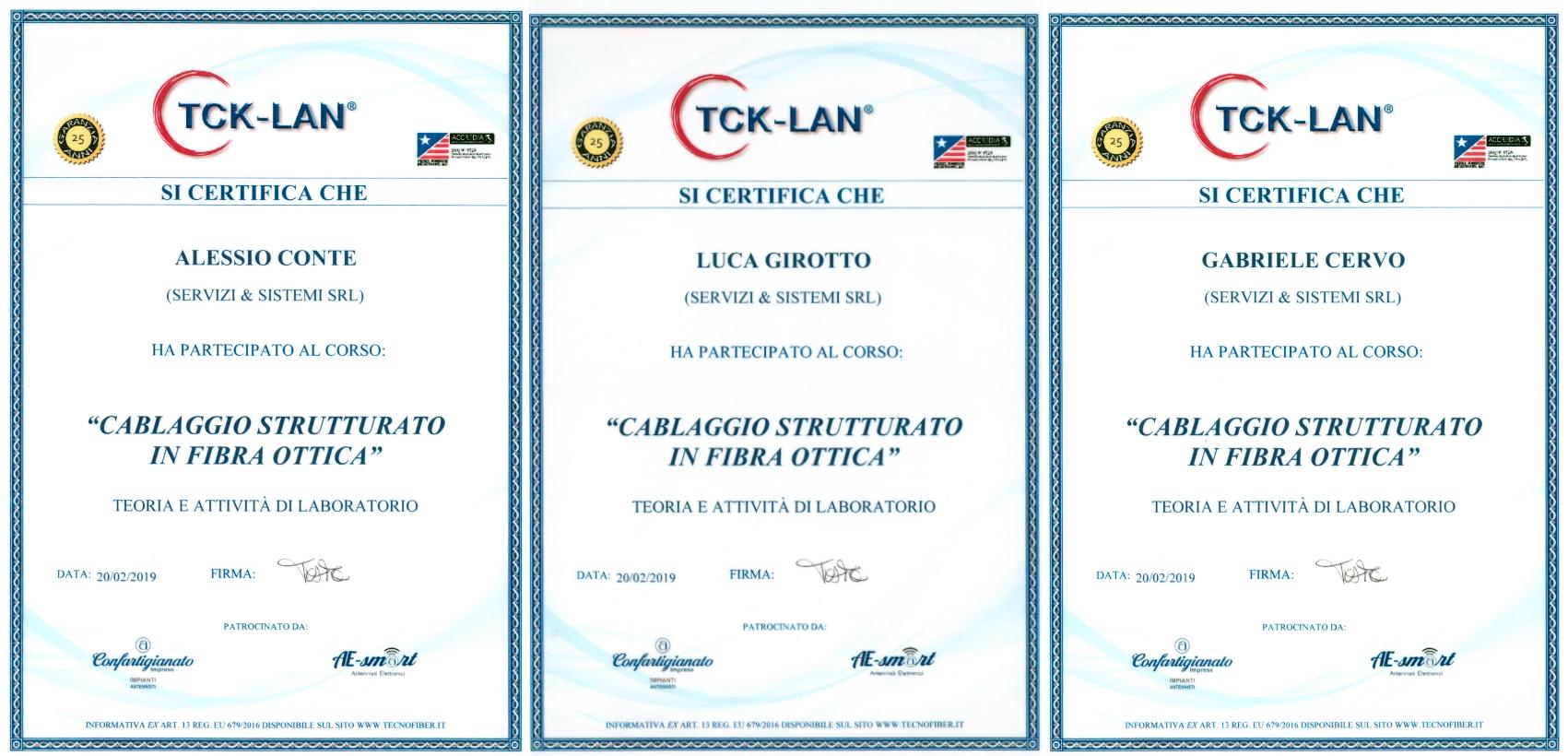 attestato certificazione fibra ottica tck-lan